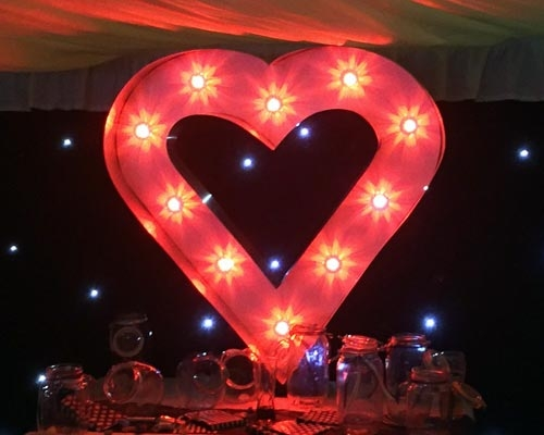 Illuminated Heart Love Light up Letters Tyne and Wear