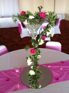 pink and cream centrepiece
